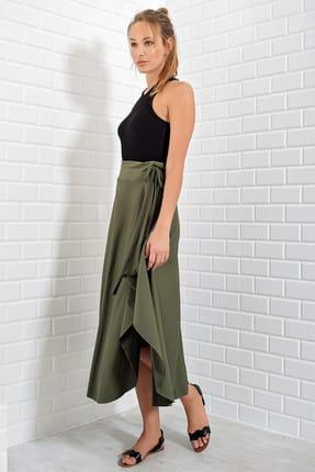 Trend Alaçatı Stili Kadın Haki Asimetrik Kesim Etek ALC-5402 2