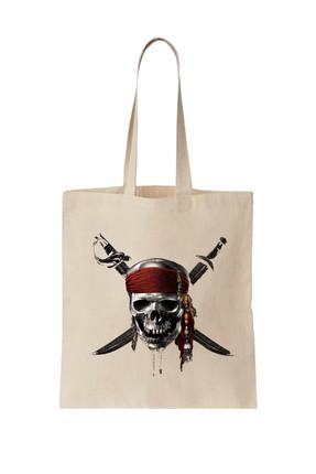 Art T-Shirt Kadın Bej Pırates Of Carrıbbean Baskılı Bez Çanta ARTÇ018832 0