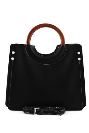Laura Ashley Kadın Ahşap Askılı Çanta Siyah 1