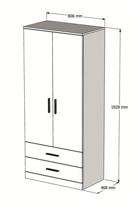 Bimossa K2245 Gardrop 2 Kapılı 2 Çekmeceli Askılı Elbise Dolabı Beyaz 3