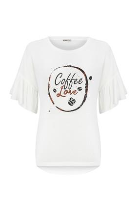 Tchibo Beyaz Coffee Love Volan Kollu Kadın Tişört 101984 3