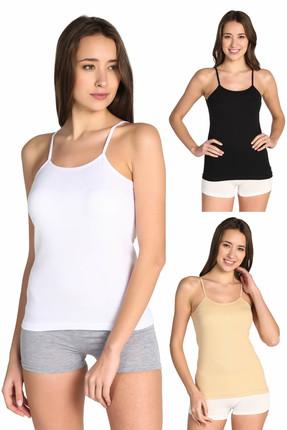 Tutku Kadın Karışık Renk 3'lü Paket  İp Askılı Atlet ELF568T0135CCM3 0