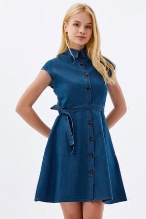 Pattaya Kadın Kuşaklı Kısa Kollu Mini Kot Elbise Ptty20s-9677 0