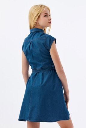 Pattaya Kadın Kuşaklı Kısa Kollu Mini Kot Elbise Ptty20s-9677 3