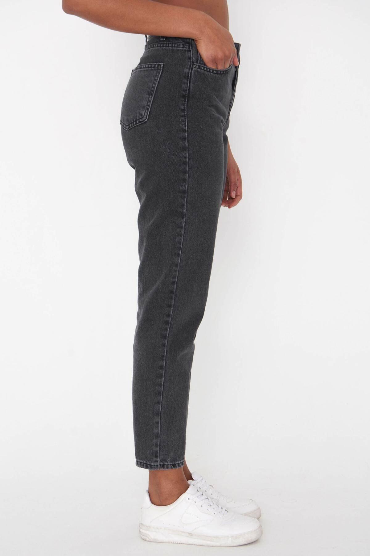 Addax Kadın Antrasit Yüksek Bel Jean Pantolon Pn7080 Adx-0000023683 2
