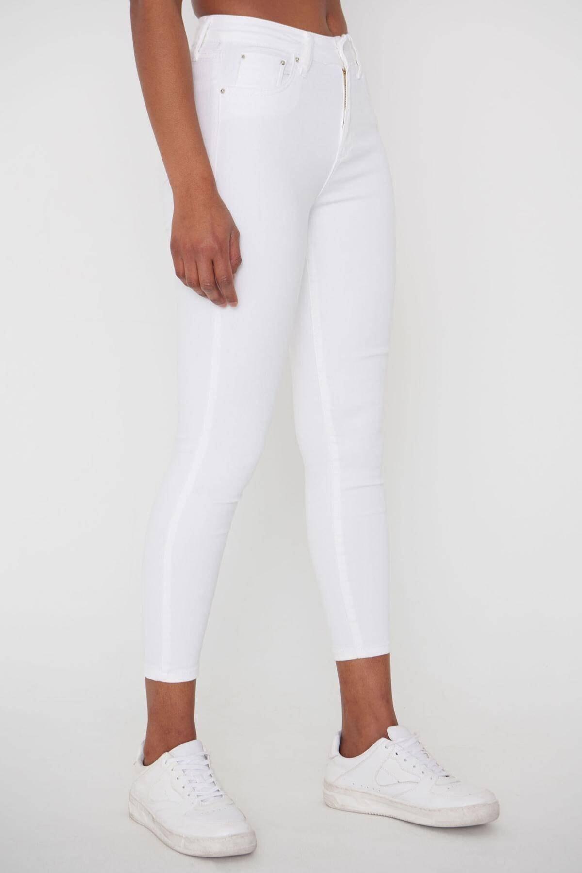 Addax Kadın Beyaz Pantolon Pn4424 - Pnj ADX-00008543 2
