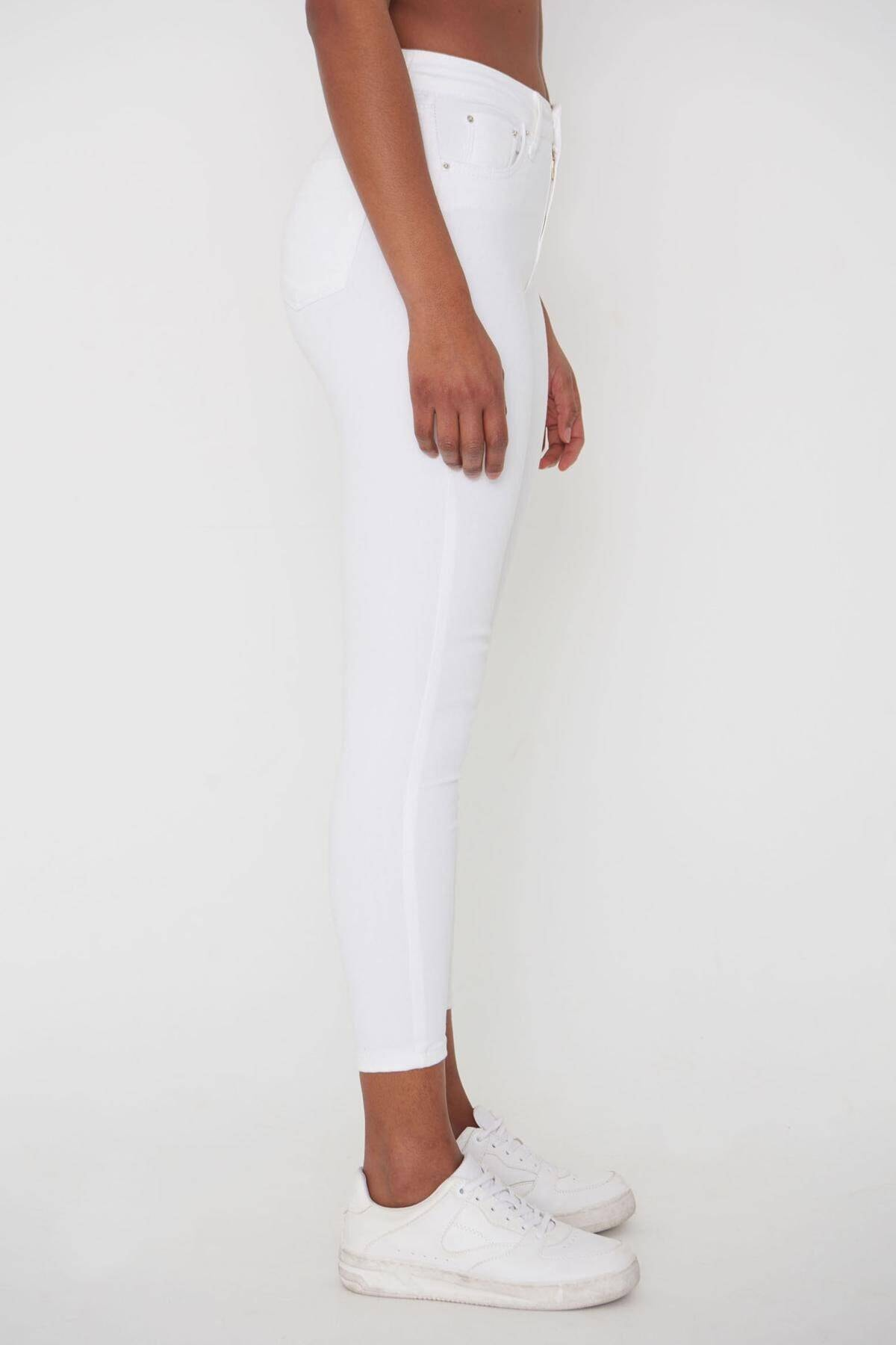 Addax Kadın Beyaz Pantolon Pn4424 - Pnj ADX-00008543 3