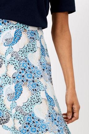 Marks & Spencer Kadın Mavi Çiçek Desenli Midi Etek T42001033 2