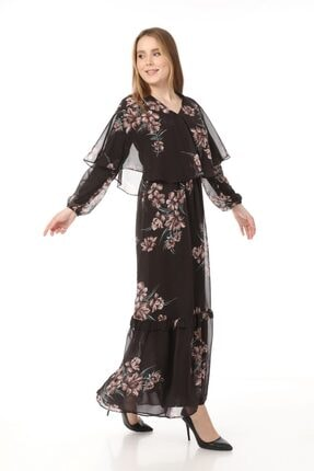 Yare V Yaka Etek Ucu Fırfırlı Uzun Şifon Elbise 2