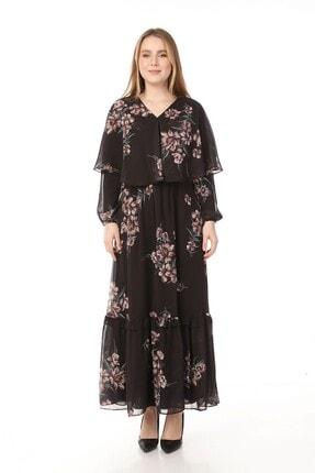 Yare V Yaka Etek Ucu Fırfırlı Uzun Şifon Elbise 4