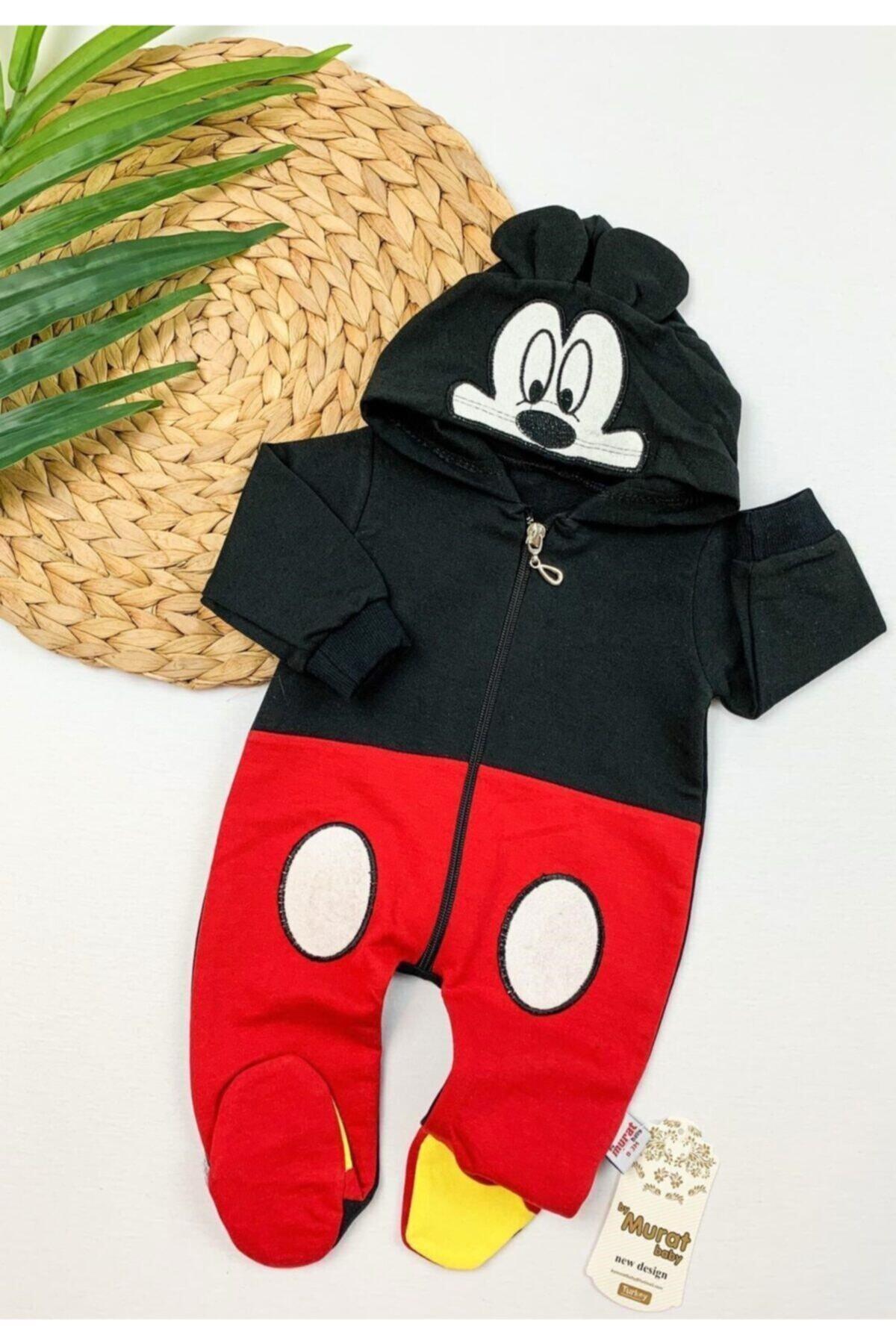 Unisex Bebek Kırmızı-Siyah  Mickey Mouse Tulum
