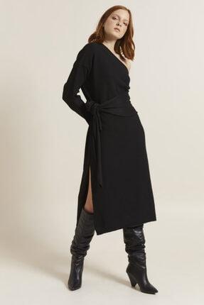 Kadın Siyah Tek Omuzlu Triko Elbise 124M1612000