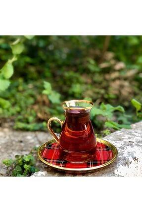 Glore Nihavent Ekose Kırmızı Kulplu 6'lı Çay Seti 1