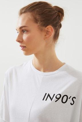 TRENDYOLMİLLA Beyaz Ön Ve Sırt Baskılı Boyfriend Örme T-Shirt TWOSS20TS1275 3