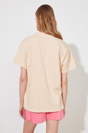 TRENDYOLMİLLA Camel Nakışlı Boyfriend Örme T-Shirt TWOSS20TS0228 4