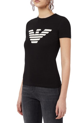 Emporio Armani Kadın Baskılı Bisiklet Yaka Pamuklu T Shirt 3k2t7n 2j07z 0999 0