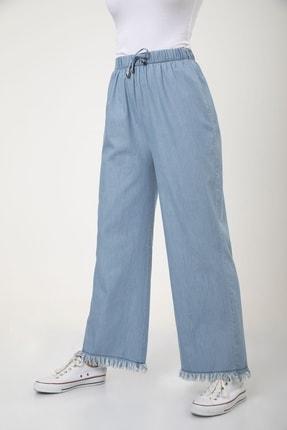 MD trend Kadın Mavi Bel Lastikli Bol Paça Rahat Kalıp Jean Kot Pantolon 2