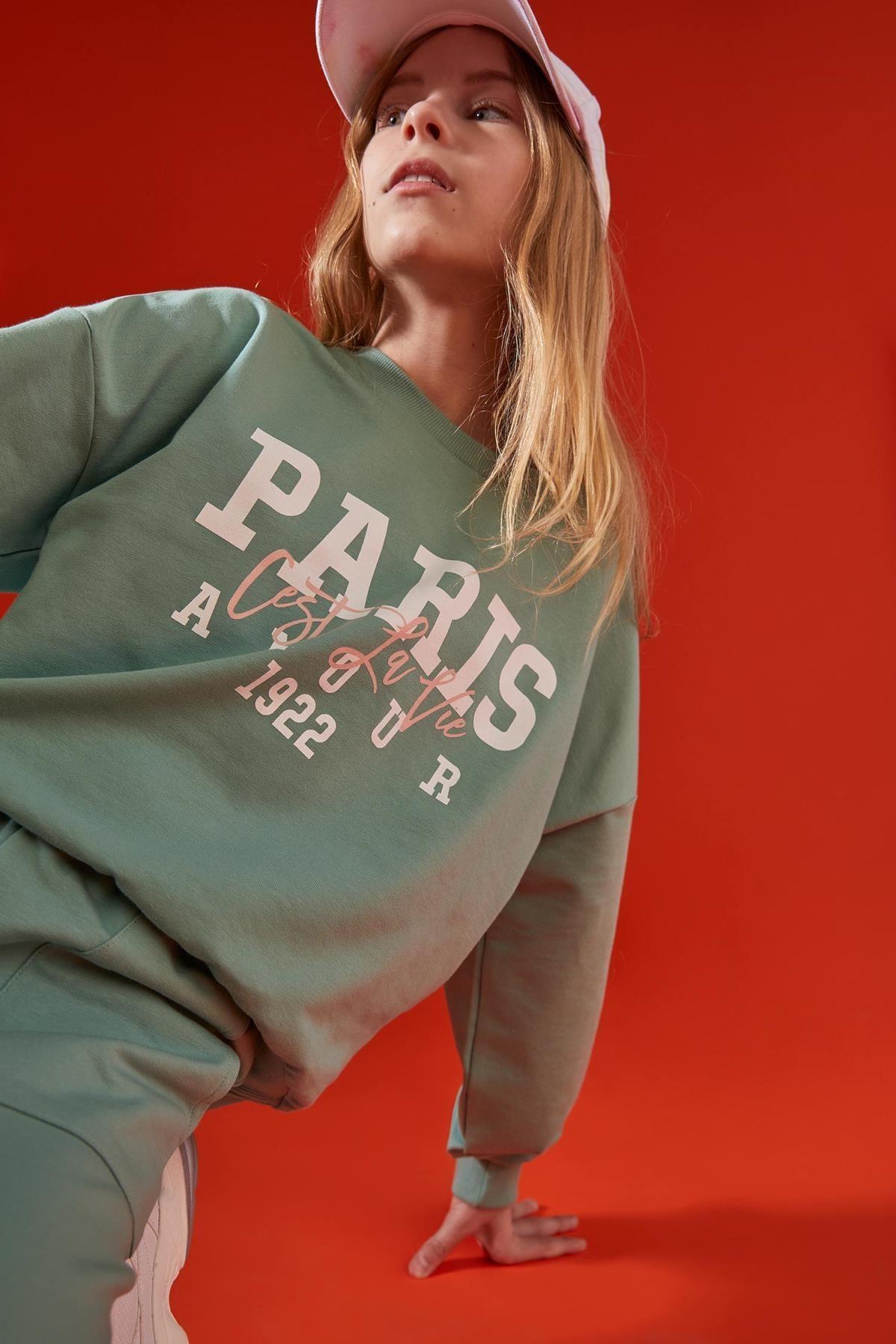 Kız Çocuk Yeşil Yazı Baskılı Düşük Kol Sweatshirt