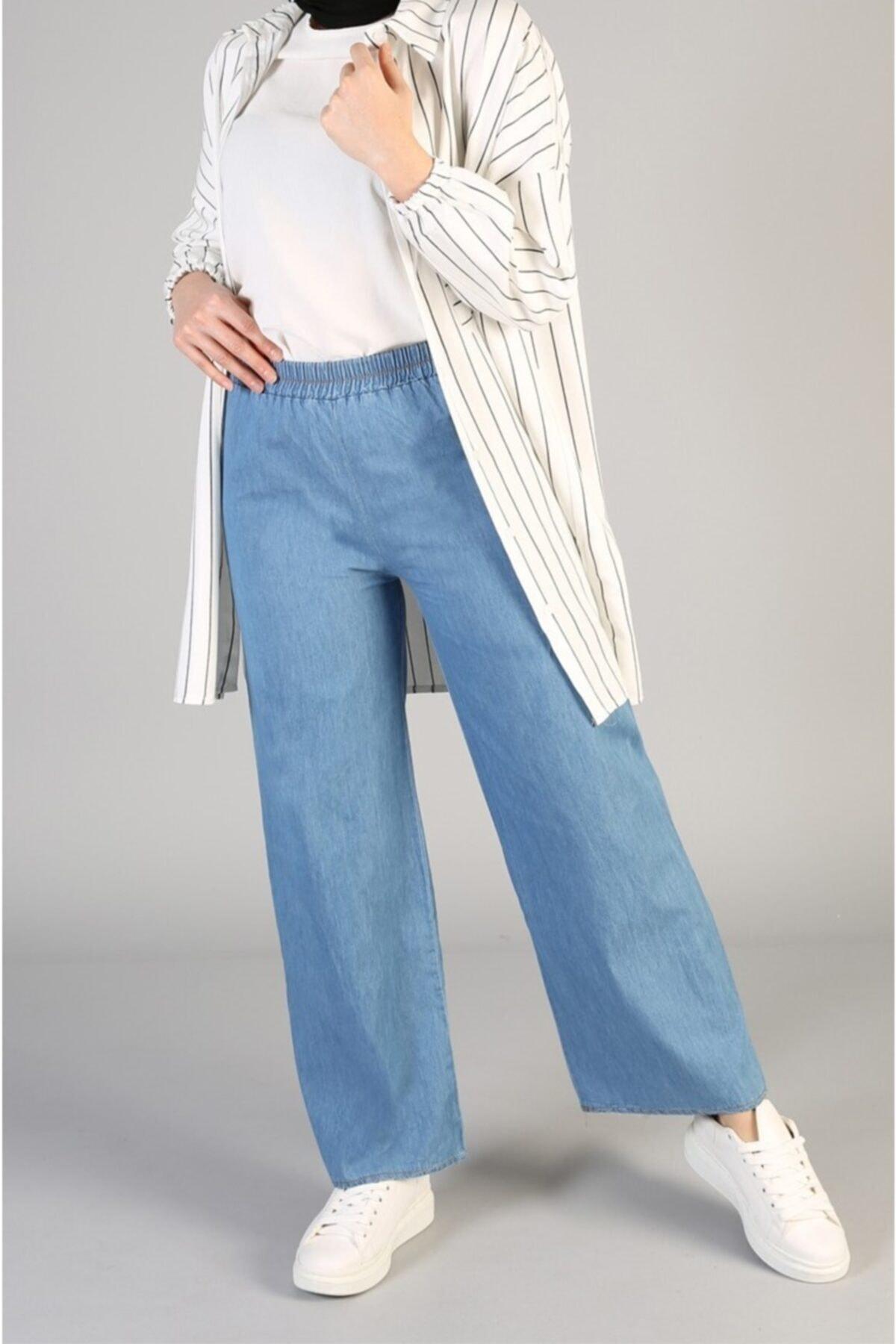Kadın Açık Mavi Bol Paça Kot Pantolon