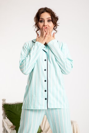 TAMPAP Turkuaz Kadın Gecelik Pijama Takımı 2