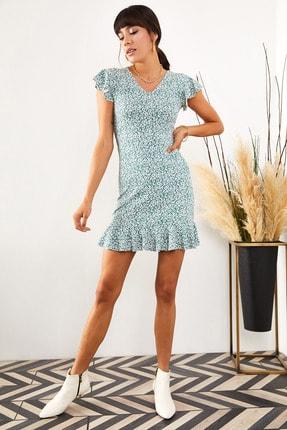 Olalook Kadın Mint Çiçekli Kolu ve Eteği Fırfırlı Kaşkorse Elbise ELB-19001407 3