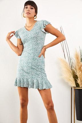 Olalook Kadın Mint Çiçekli Kolu ve Eteği Fırfırlı Kaşkorse Elbise ELB-19001407 4