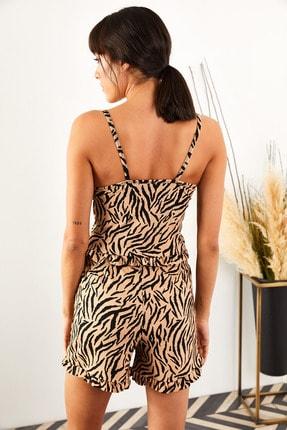Olalook Kadın Zebra Askılı Fırfırlı Pijama Takımı TKM-19000076 4