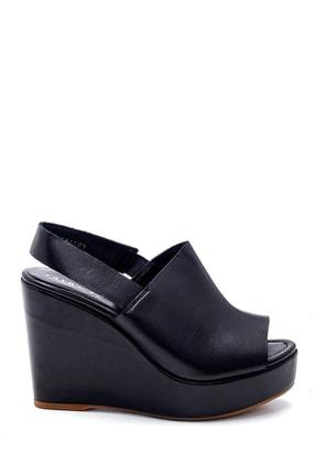 Derimod Kadın Siyah Deri Dolgu Topuk Sandalet 0