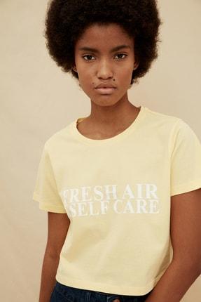 TRENDYOLMİLLA Sarı %100 Organik Pamuk Crop Baskılı Örme T-Shirt TWOSS21TS1413 2