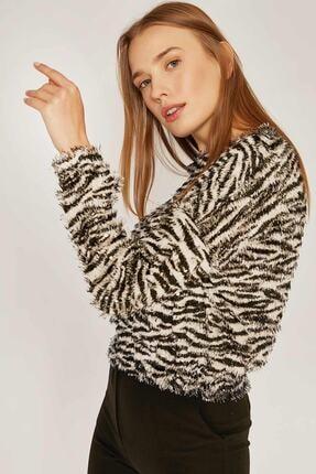 Pattaya Kadın Zebra Desen Sweatshirt F209 0