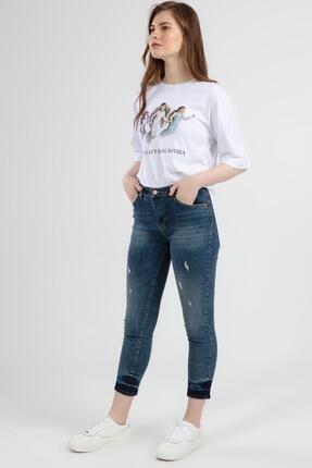 Pattaya Kadın Slim Boyfriend Paça Detaylı Yıpratmalı Kot Pantolon 10268 1