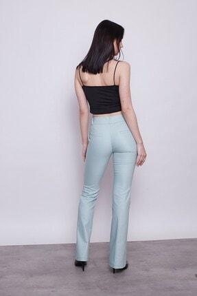 Jument Kadın Mint Kalın Kemerli Cepli Ispanyol Bol Paça Likralı Kumaş Pantolon 3