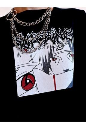twentyone Kadın Siyah Anime Çizgili Kol Oversize Sweatshirt 2