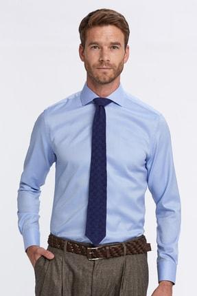 Hemington Erkek Açık Mavi Balıksırtı Doku Non-ıron Business Gömlek 0