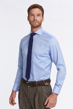 Hemington Erkek Açık Mavi Balıksırtı Doku Non-ıron Business Gömlek 3