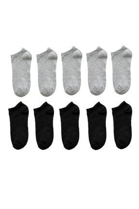 BGK Unisex 10 Çift Siyah + Gri Renk Patik Çorap 0