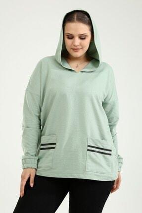 Picture of Büyük Beden Kapüşonlu Cep Şerit Detaylı Sweatshirt