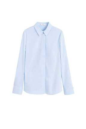 Mango Kadın Gök Mavisi Düğmeli Pamuklu Bluz 41013707 2