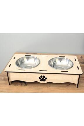EDKZEKA Kedi Ve Küçük Irk Köpek Ahşap Mama Ve Su Kabı - Paslanmaz Çelik Kaseli 0