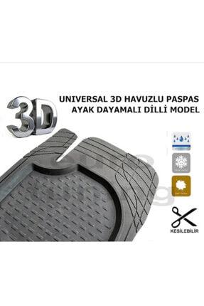 3D Şimşek Havuzlu Paspas Siyah 5 Parça Üniversal Tüm Araçlar Için Uyumlu 1