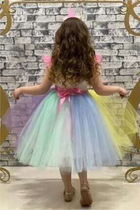Pumpido Kız Çocuk Unıcorn Simli Tütülü Rengarenk Parti-doğum Günü Prenses Elbisesi 3