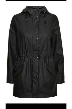 Vero Moda Kadın Siyah Beli Büzmeli Kapüşonlu Yağmurluk 2
