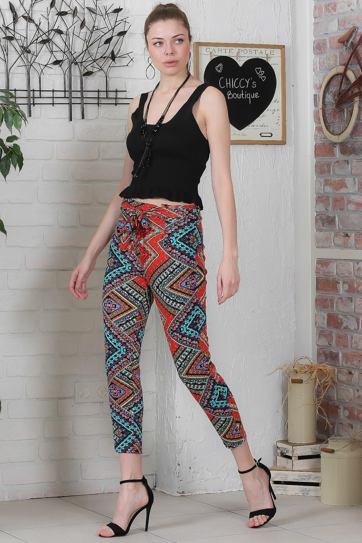 Chiccy Kadın Kırmızı-Siyah Kilim Desenli Bağlamalı Dar Paça Pantolon M10060000PN98923 2