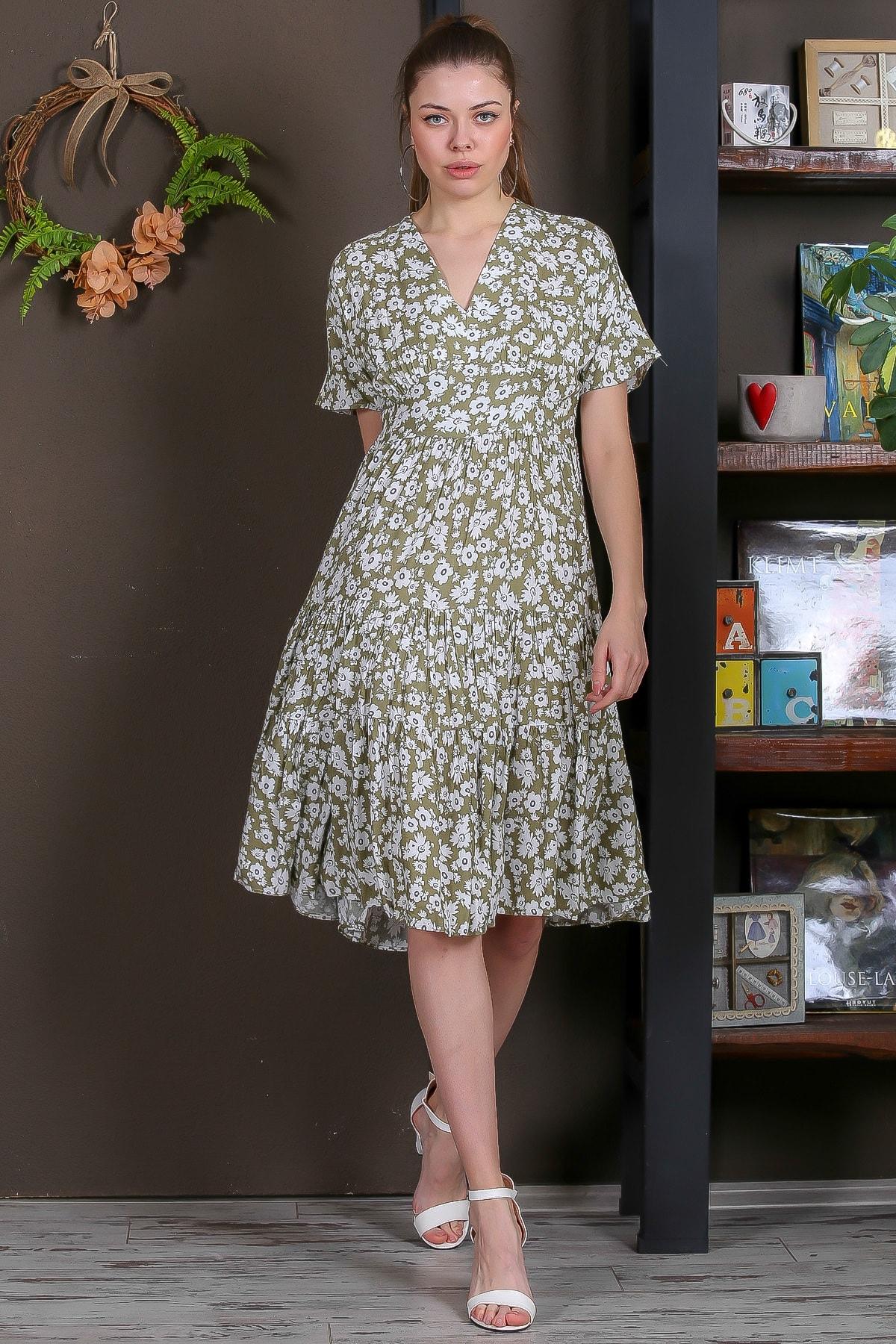 Chiccy Kadın Yeşil Düşük Kol V Yaka Fırfırlı Dokuma Midi Elbise M10160000EL95432 2
