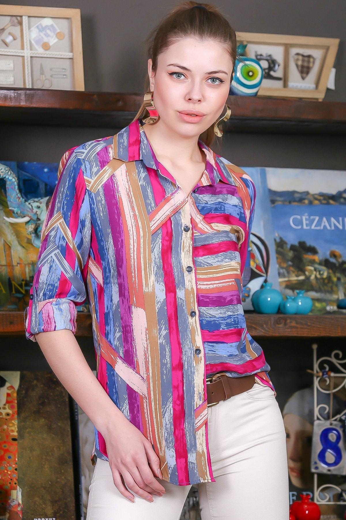Chiccy Kadın Pembe-Mavi Renkli Çizgi Desenli Kolları Ayar Düğmeli Dokuma Gömlek M10010400GM99441 1