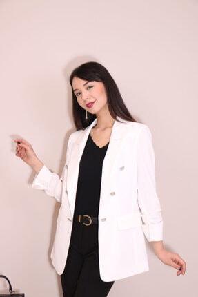 Kadın Ekru Ekol Blazer Ceket 6002