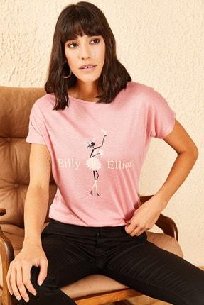Bianco Lucci Kadın Billy Elliot Baskılı Viskon Tshirt 2