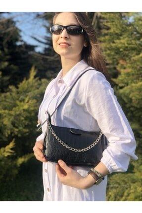 Esila&Sirius Kadın Siyah Kroko Desenli Ince Zincirli Baget Baguette Çanta 1
