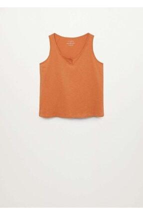 Mango Kadın Turuncu Kalın Askılı Bluz 2