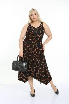 HERAXL Kadın Siyah Taş Desen Toka Detaylı Askılı Elbise 1